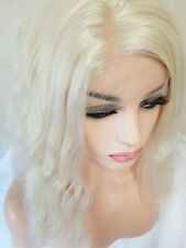 Light Blonde Synthetic Wig Transparent Front Lace Short Bob Curly