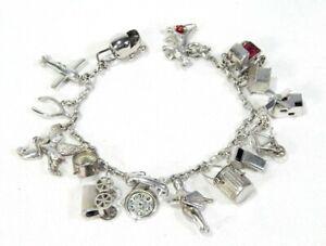 Vintage Sterling Silver Charm Bracelet - Many Cool Charms!