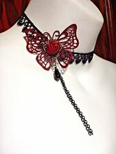 BURGUNDY BUTTERFLY BURLESQUE CHOKER lace red rose gothic romantic necklace T5