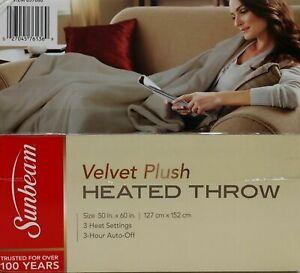 "SUNBEAM VELVET PLUSH HEATED ELECTRIC THROW BLANKET 50"" x 60"" MUSHROOM COLOR bed"
