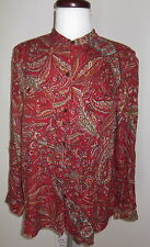Chaps Shirt Top Large Red Paisley Stand Collar Casual