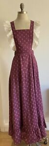 1970s Purple Pinafore Dress, (fabric could be early Laura Ashley?)  Free Size.