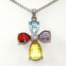 Modernist Faceted Multi Color Gemstone CZ Christian Cross Pendant Necklace 17""