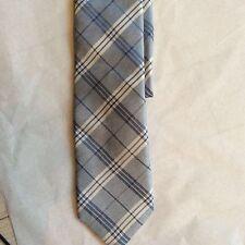 NEW CORNELIANI Light Blue Plaid Silk Tie