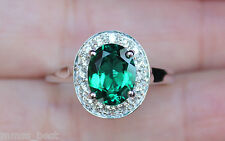 New 14K Lab Emerald & Natural Diamond Halo Diana Engagement Ring White Gold 7,8