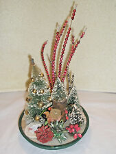 Vintage Holiday Decoration Bottle Brush Trees Beads WT Grant Co