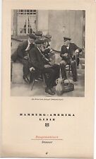 1937 Hamburg America Line Steamship Dinner Menu with Gentlemen on Cover