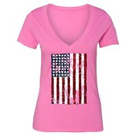 American Flag distressed 4th of July T-shirt Clothing USA Pride Shirt Pink