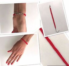 Pulsera anudada Rojo Cuerda Kabbalah Lateral Para Protección Accesorio Hecho a Mano