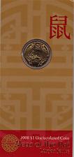 "2008""Lunar Year of ""The Rat"" Australia $1 Dollar UNC Coin on Card"