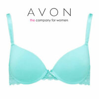 AVON Ladies Womens Lace Padded Full Cup Underwired Blue T Shirt Bra 36 C D F