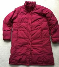 LL Bean Womens Large Red Puffer Long Jacket Winter Coat 80% Down Side Pockets