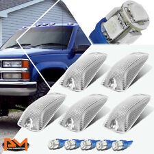 5-Piece Cab Roof Running Light Chrome Housing Blue LED For 88-02 Chevy/GMC C/K