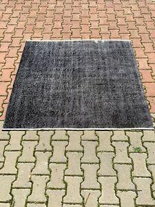 Dark Gray (Black) Rug, Square Rug, Turkish Rug 4 x 5 ft. Vintage Rug, Oushak Rug