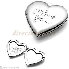 Heart Lovers Couples Silver Plated Photo Picture Frame Pendant for Necklace Gift