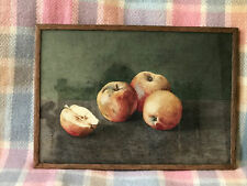 Old Watercolour painting. Still life with Apples Framed Signed By Artist Janet?