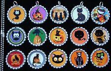 15 Halloween Cats Silver Flat Bottle Cap Necklaces Set 2