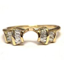 14k yellow gold .34ct diamond wrap jacket guard ring 2.3g wedding band vintage