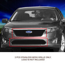 Stainless Steel Black Mesh Grille Grill Combo Set For 10-12 Ford Fusion