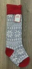 NWT Pottery Barn Kids classic fair isle knit snowflake Christmas stocking gray