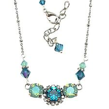 Pacific Blue Round Stone Crystal Pendant Necklace with Crystals from Swarovski