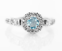 925 Sterling Silver Ring Natural Blue Topaz Solitaire Size 4-11