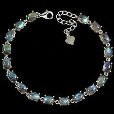 Sterling Silver 925  Genuine Natural Oval Cabochon Labradorite Bracelet 7-8 Inch