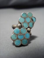 IMPORTANT VINTAGE ZUNI STERLING SILVER DISHTA TURQUOISE INLAY RING OLD