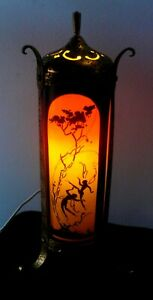 "C.1920 DEVILBIS REVERSE PAINTED ART DECO GLASS FAIRY PERFUME LAMP.12.5"" TALL"