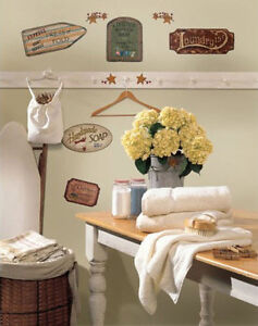 VINTAGE COUNTRY SIGNS wall stickers 26 decal stars berries retro weathered decor
