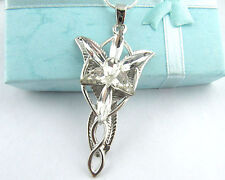 Shiny Retro Crystal Rhinestone Lord of the Rings Arwen Evenstar Pendant Necklace