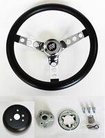 """1967 1968 Buick Skylark GS Grant Black and Chrome Steering Wheel 13 1/2"""""""