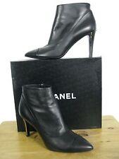 $1225 NIB CHANEL CC Logo, Black Leather Elegant Ankle Booties Boots sz  40