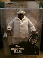 "Mezco 2006 Biggie Smalls 9""ActionFigure In Cloth White Suit With Hat/Cane/Cigar"