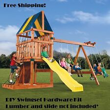 Swing Hardware Kit Playset Parts DIY Seats Tarp Handles Hangers Set Wooden