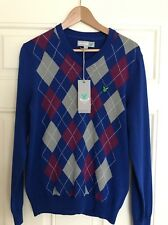 NEW Men's Lyle & Scott V-Neck Argyle Golf Pullover/Jumper,Duke Blue,Small (1141)
