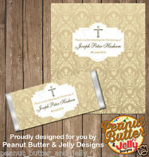 Personalised Christening Baptism Chocolate Bar Wrapper (only) x10 wraps ($1 ea)
