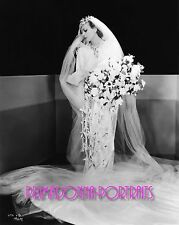 JOAN CRAWFORD 8X10 Lab Photo 1930's BRIDAL Wedding Gown Dress Bride Bouquet