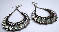 boucles d'oreilles percées bronze bijou vintage pendante cristaux diamant 2177