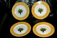 GUY DEGRENNE Lot of 4 Salad Dessert Plates OULIVEIRO Olive Tree Hungary