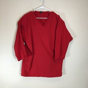 Vintage Lands End Jersey Shirt Unisex XL Single Stitch 3/4 Sleeve Red Oversized