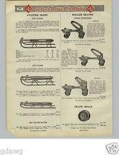 1925 PAPER AD Zev Flyer Snow Coaster Sled Tube Hockey Ice Skates