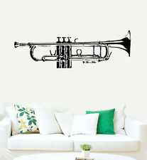 Wall Decal Vinyl Sticker Trumpet Jazz Instrument Music Live Horn  Modern r426
