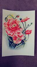 "watercolor?poppies panting 11x15"" original, No frame"