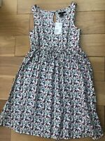 NEW H&M Size 8 UK EU 34 Pretty Summer Floral Dress Sleeveless 100% Cotton