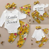 Baby Girls Long Sleeve Letter Printed Rompers+Pants+Headband+Hat Floral 4Pcs Set