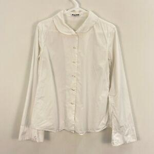 Jil Sander Women's Small Blouse White Cotton Long Sleeve Button Shirt Italy W72