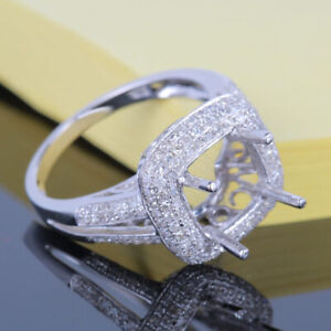 Solid 10K White Gold 8mm Cushion .6ct Natural Diamond Engagement Semi Mount Ring