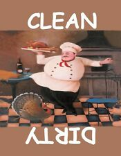 METAL DISHWASHER MAGNET Chef And Turkey Clean Dirty Dishes MAGNET