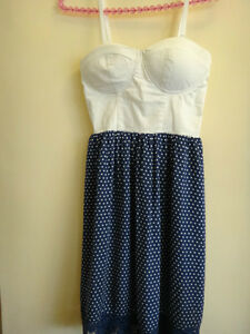 ALLY DRESS Blue with white polkadots SIZE XS - VERY GOOD CONDITION